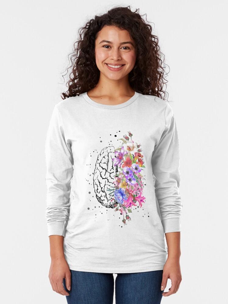 Alternate view of Brain anatomy,  watercolor Brain, flowers brain, brain with Flowers Long Sleeve T-Shirt