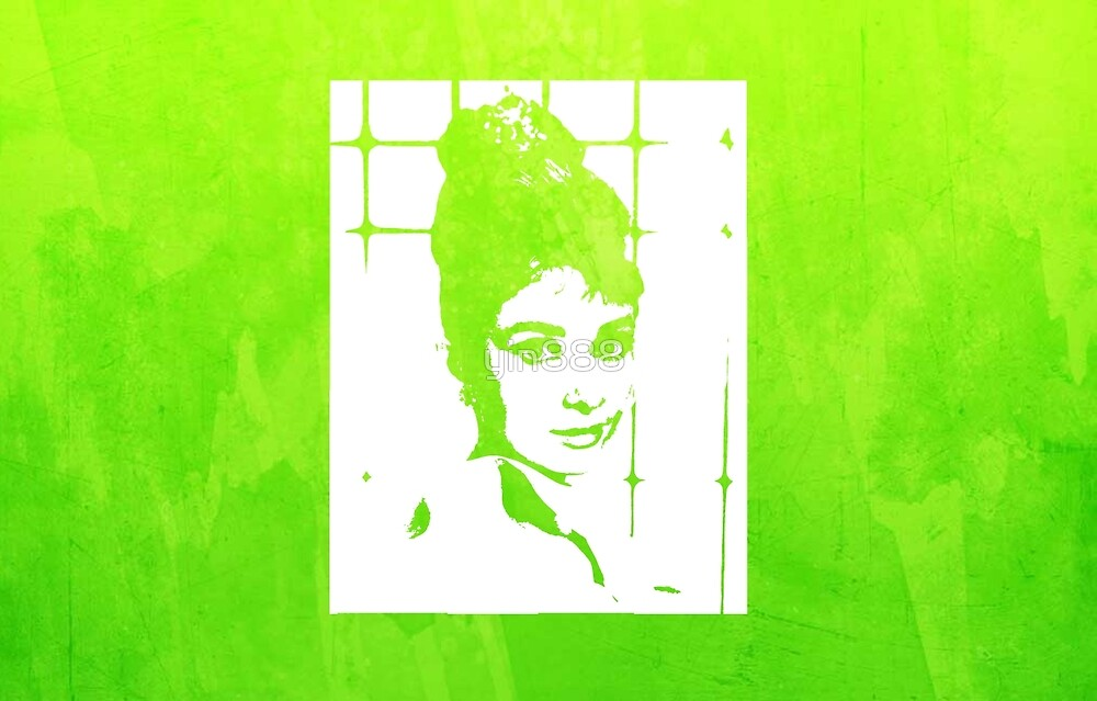 Audrey Hepburn With Hair Up Green  by yin888