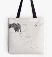 shetland pony in snow Tote Bag