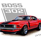 Boss 302 Mustang Red by davidkyte