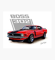 Boss 302 Mustang Red Photographic Print