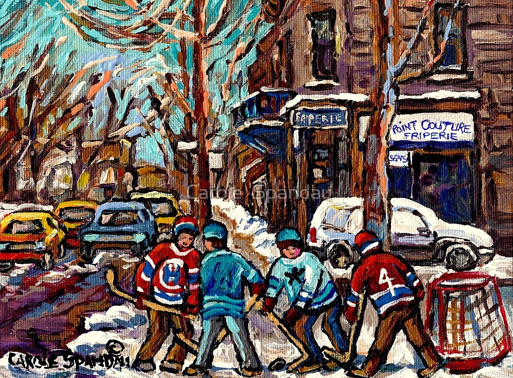 BOYS OF POINTE ST CHARLES STREET HOCKEY ART MONTREAL WINTER SCENES by Carole  Spandau