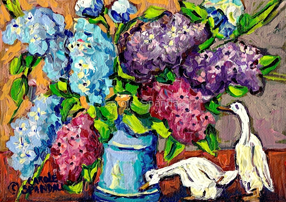 LILAC FLORAL BOUQUET WITH CERAMIC DUCKS ORIGINAL PAINTING  by Carole  Spandau