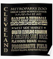 Cleveland Ohio Famous Landmarks Poster