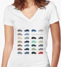 Austin Mini classic - 60's original car colours  Women's Fitted V-Neck T-Shirt