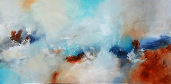 Blue rust orange painting by AndradaArt