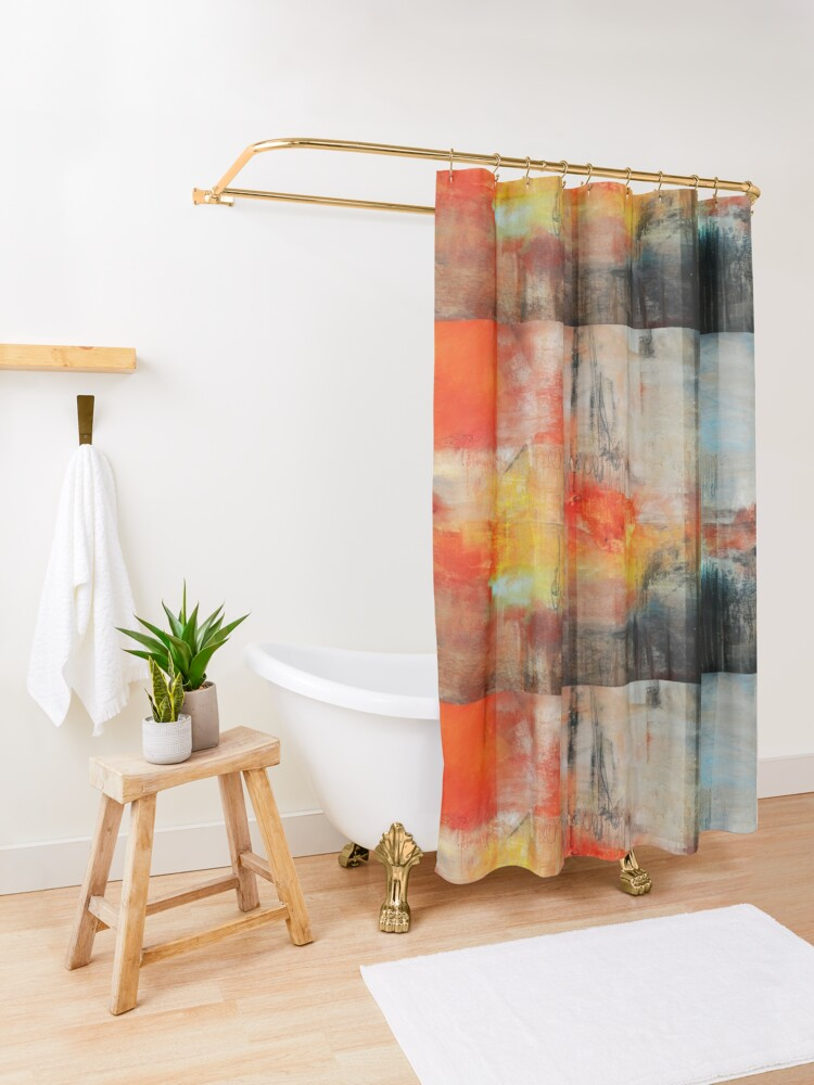 Alternate view of Large Abstract Art, Blue Orange Abstract Print  Shower Curtain