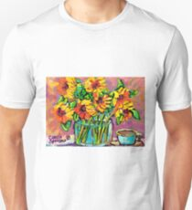 FLORAL STILL LIFE SUNFLOWERS WITH CUP COLORFUL ORIGINAL PAINTING T-Shirt