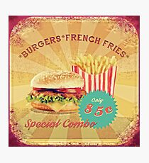 50s Burger and Chips ! Photographic Print