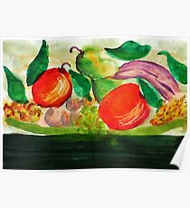 Fruit Plate, watercolor Poster