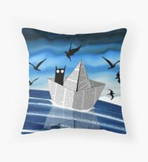 Paper Boat  Throw Pillow