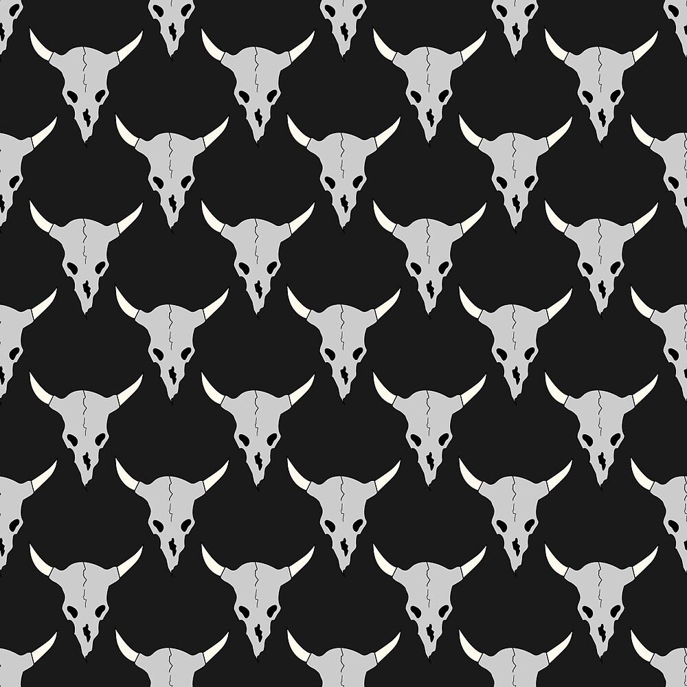 Horned bull skulls by kylmaviha