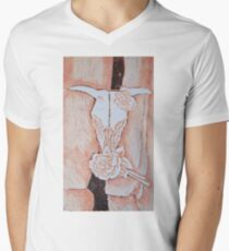 after Georgia O'Keeffe's Cow's Skull with Calico Roses  Mens V-Neck T-Shirt
