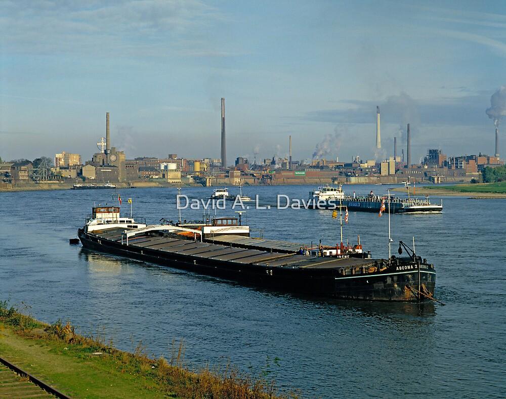Rhine at Krefeld Uerdingen in early 1980s, Germany. by David A. L. Davies