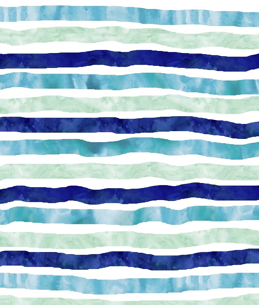 """watercolor hand drawn stripes navy blue mint"" by ..."