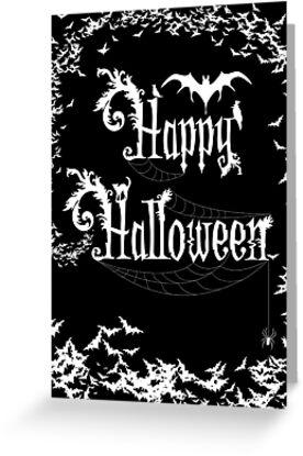 Happy Halloween Rococo Typography Greeting Card ~ Extra Bats Black & White Version by Sam Stormborn Ormandy