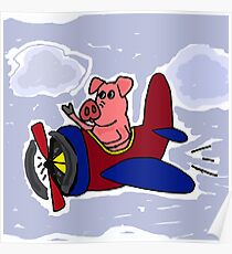 Funny Pig Flying in Red and Blue Airplane Poster