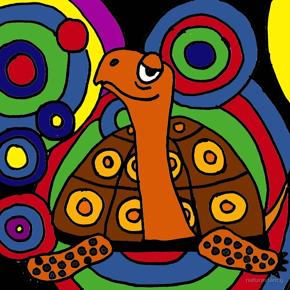 Funny Box Turtle Art Abstract Original by naturesfancy