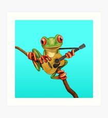 Netter grüner Baum-Frosch, der die Akustikgitarre spielt Kunstdruck