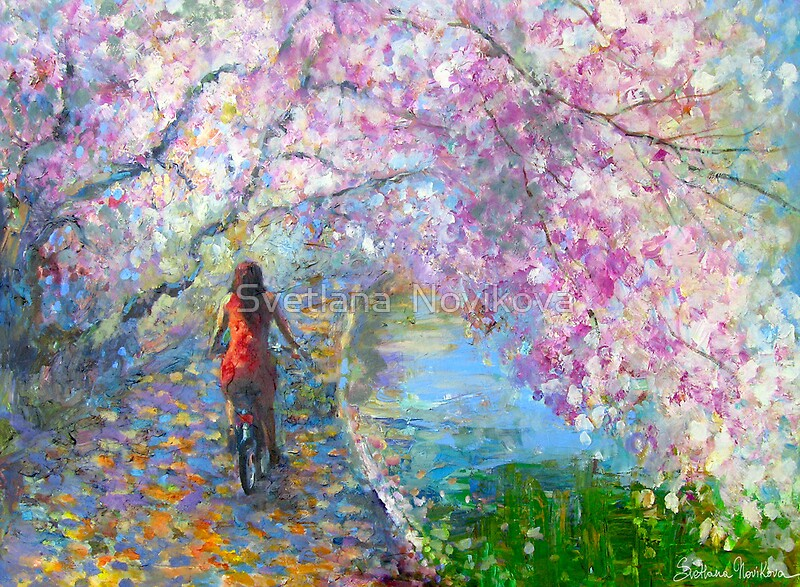 Quot Blossom Alley Landscape Woman On A Bike Impressionistic