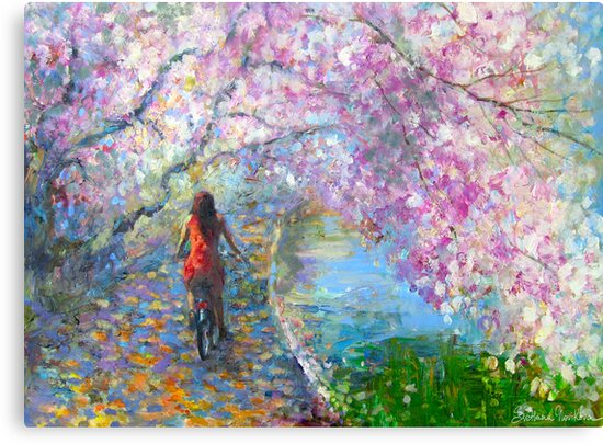 Blossom Alley Landscape woman on a bike Impressionistic Painting Svetlana Novikova by Svetlana  Novikova