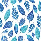 Blue Watercolour Leaves Pattern by tanyadraws