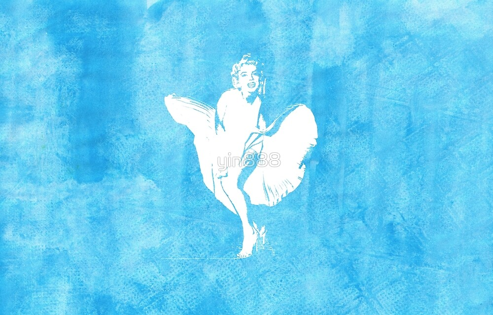 Marilyn Monroe Iconic White Dress Watercolour Blue  by yin888