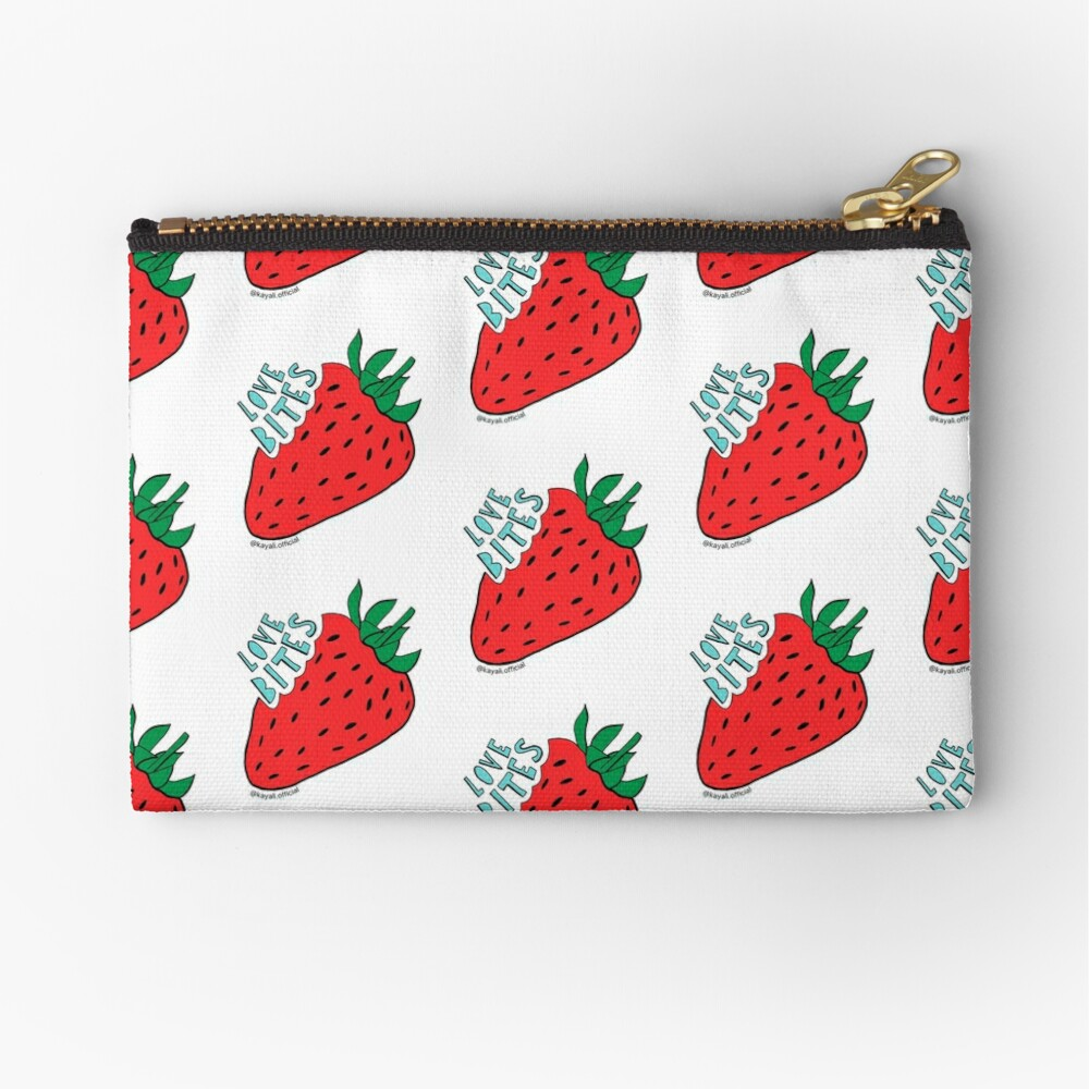 White 'Love Bites' Cute Strawberry - Valentines Day Gift by Kay Ali Zipper Pouch