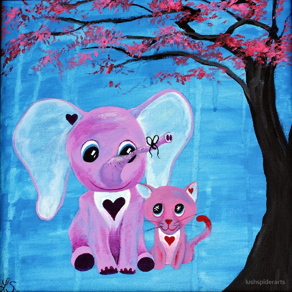Cute Pink Elephant Cat Cherry Blossom Art by lushspiderarts