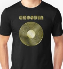 Groovin - Vinyl LP Record & Text - Metallic - Gold T-Shirt