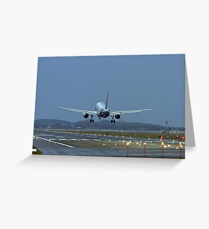 A320 Landing Greeting Card