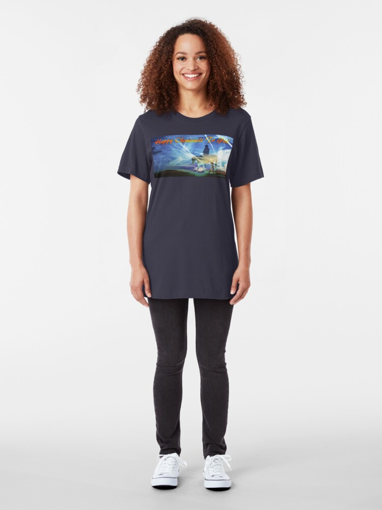 Alternate view of Happy Chemtrails to You Slim Fit T-Shirt