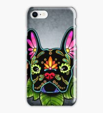 Day of the Dead French Bulldog in Black Sugar Skull Dog iPhone Case/Skin