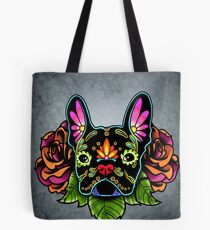 Day of the Dead French Bulldog in Black Sugar Skull Dog Tote Bag