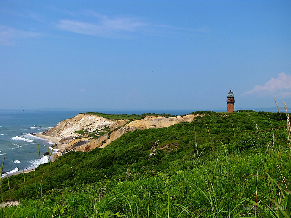 Gay Head cliffs and lighthouse by Nancy Richard