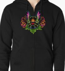 Day of the Dead French Bulldog in Black Sugar Skull Dog Zipped Hoodie