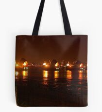 The Thames Flood Barrier at night Tote Bag