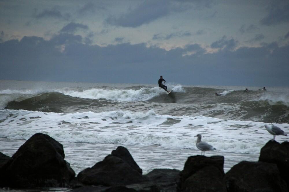 Sea, Sky, Seagulls & Surfers by AnneDB