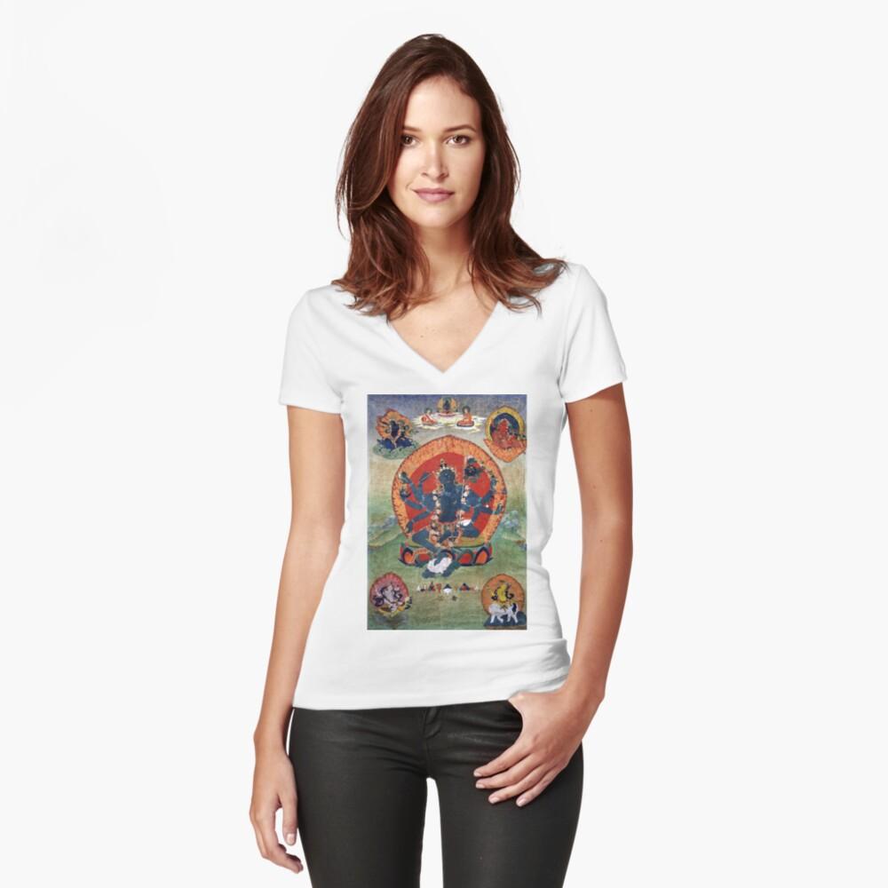 Green Tara Tibetan Buddhist Religious Art Fitted V-Neck T-Shirt