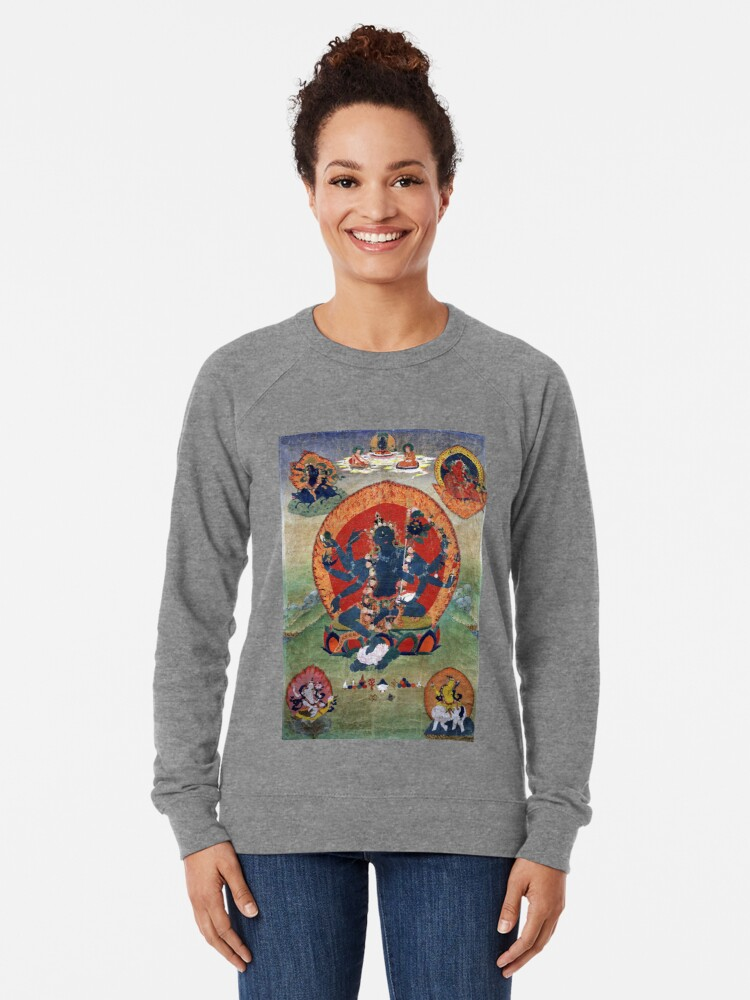 Alternate view of Green Tara Tibetan Buddhist Religious Art Lightweight Sweatshirt