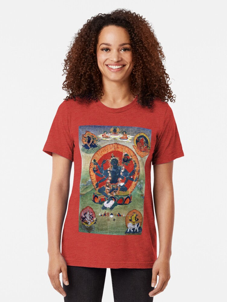 Alternate view of Green Tara Tibetan Buddhist Religious Art Tri-blend T-Shirt