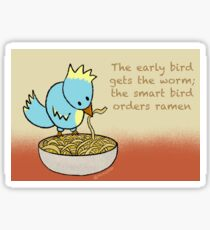 Ramen Noodle Bird Glossy Sticker