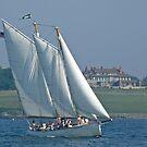 Schooner Adirondack II passes Hammersmith Farm - Newport - Rhode Island by Jack McCabe