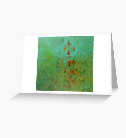 garden observation in blue Greeting Card
