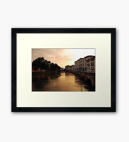 Sunset on the River Sile, Treviso Framed Print