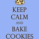 Blue Keep Calm and Bake Cookies by Emily Clarke