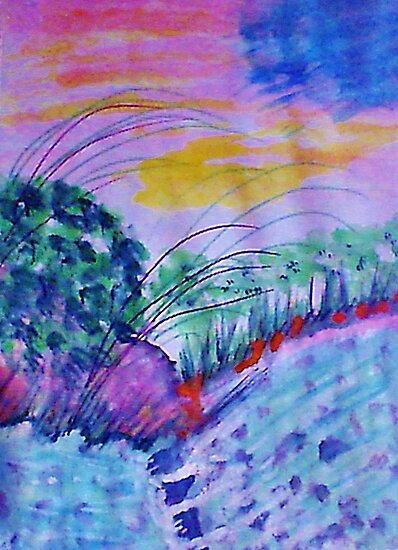 Lets go across the creek on stepping stones, watercolor by Anna  Lewis, blind artist