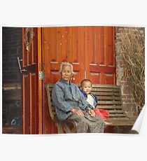 Grandmother and Little Boy Poster