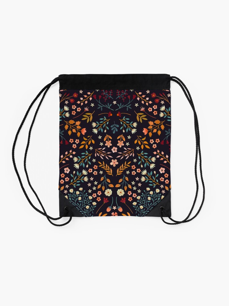 Alternate view of Watercolor Flowers Drawstring Bag
