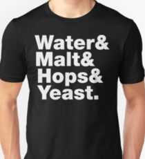 Beer = Water & Malt & Hops & Yeast. T-Shirt